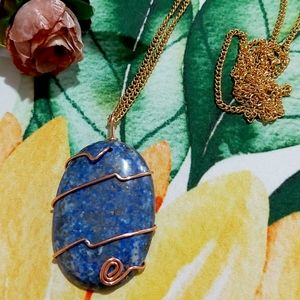 Lapis Lazuli Copper Wire Stainless Steel Chain Nec